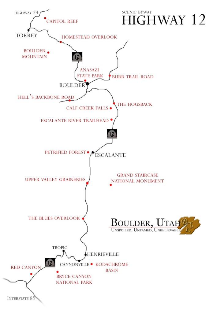 Maps Of The Area  Boulder Utah  Highway 12  Boulder Utah